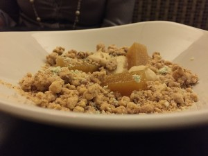 salty graham crumble with yellow beet gelée