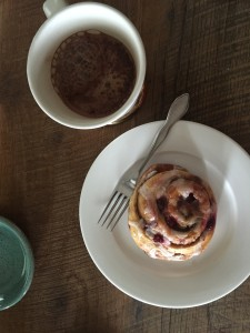 Amazing farmers market finds like this berry cinnamon roll from the New Albany Farmers Market