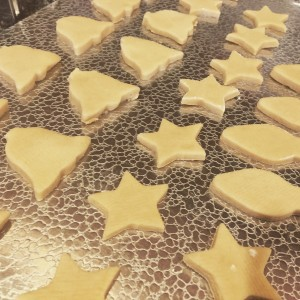 Christmas Cookies on the baking sheet