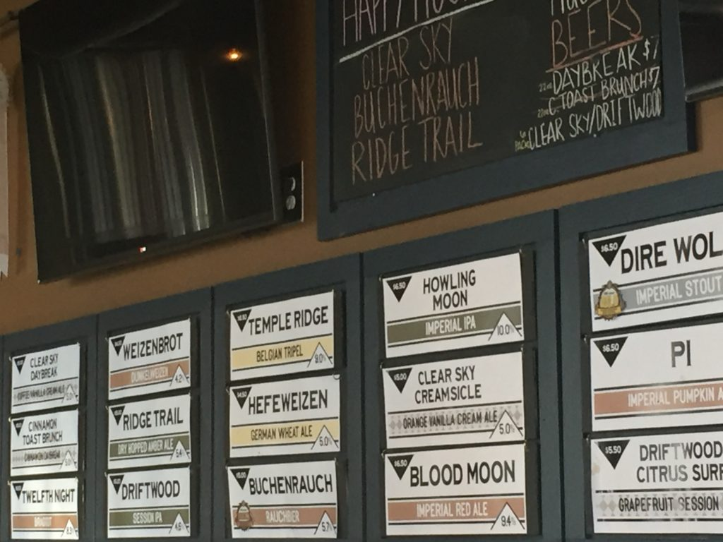 Wolf's Ridge Brewing Tap Room Menu Board