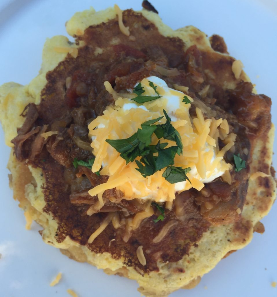 Corn Cakes with Spicy Shredded Beef