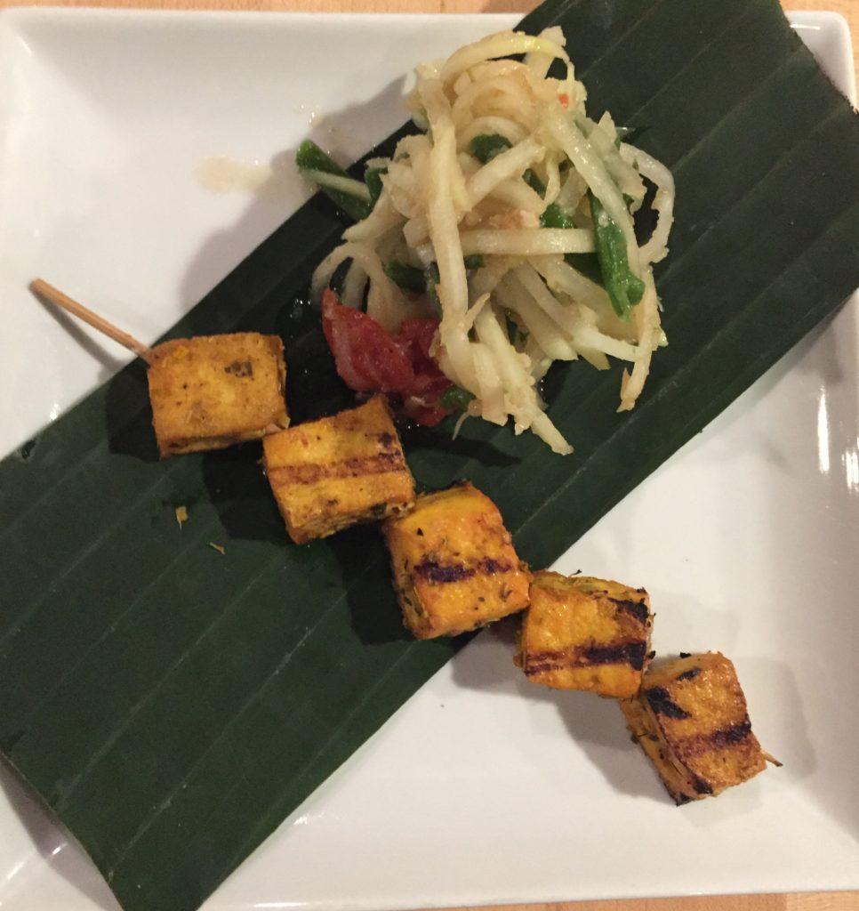 Crunchy Papaya Salad with Tofu Skewer